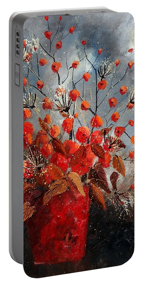 Flowers Portable Battery Charger featuring the painting Bunch 560608 by Pol Ledent