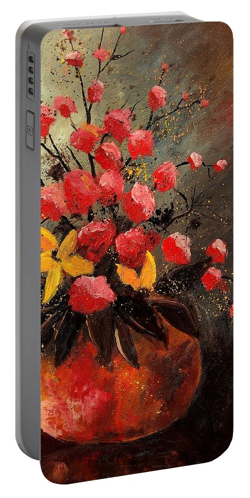 Flowers Portable Battery Charger featuring the painting Bunch 569060 by Pol Ledent