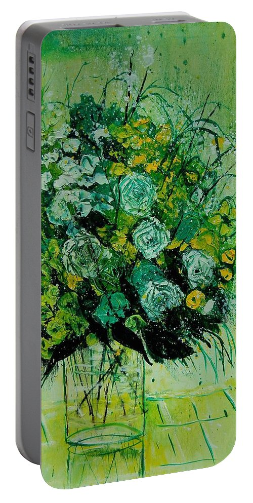 Flowers Portable Battery Charger featuring the painting Bunch 9011 by Pol Ledent