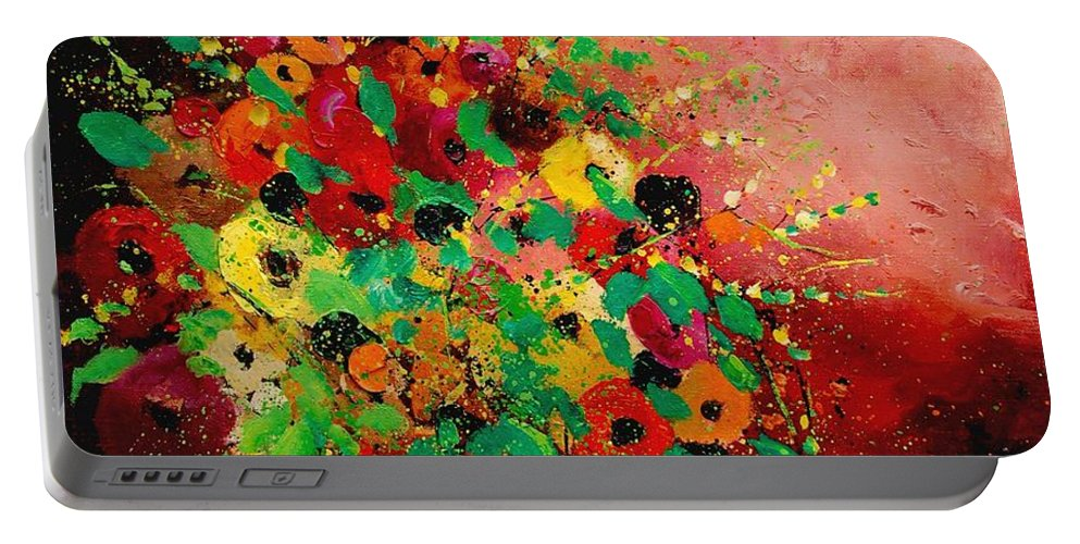 Flowers Portable Battery Charger featuring the painting Bunch Of Flowers 0507 by Pol Ledent