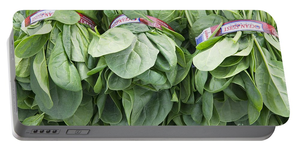 Spinach Portable Battery Charger featuring the photograph Bundled Spinach After Harvest by Inga Spence