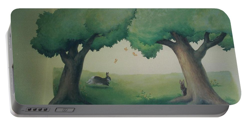 Bunnies Portable Battery Charger featuring the painting Bunnies Running Under Trees by Suzn Art Memorial