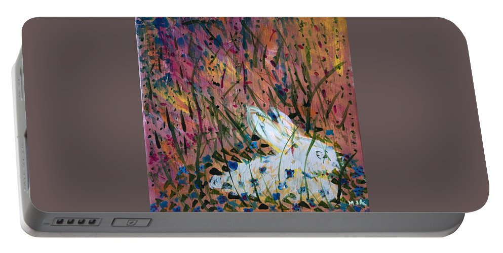 Bunny Portable Battery Charger featuring the painting Bunny by Mary Jo Hopton