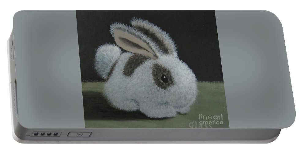 Baby Portable Battery Charger featuring the painting Bunny by Tina Glass
