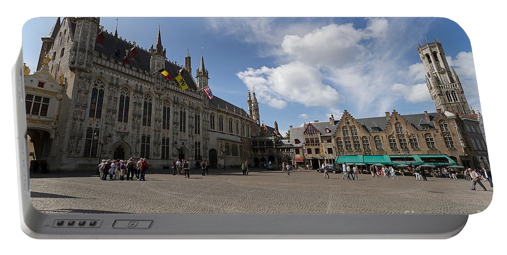Burg Square Portable Battery Charger featuring the photograph Burg Square In Bruges Belgium by Louise Heusinkveld