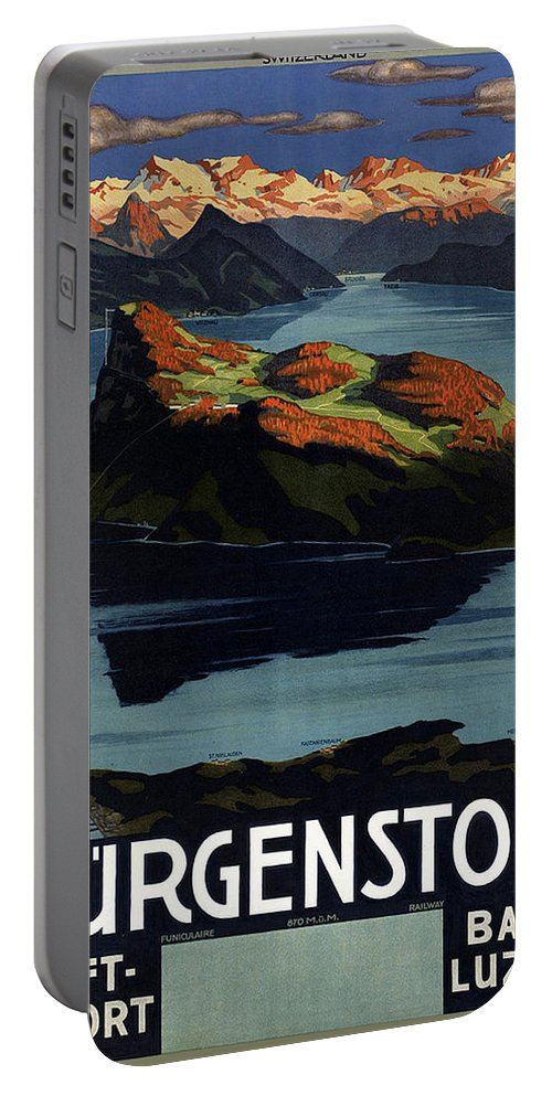 Burgenstock Portable Battery Charger featuring the mixed media Burgenstock - Lake Lucerne - Switzerland - Retro Poster - Vintage Travel Advertising Poster by Studio Grafiikka