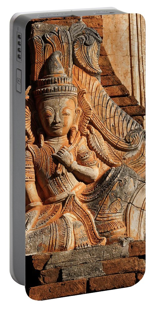 Asia Portable Battery Charger featuring the photograph Burmese Pagoda Sculpture by Michele Burgess