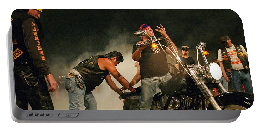 Biker Portable Battery Charger featuring the photograph Burn Out by Skip Hunt
