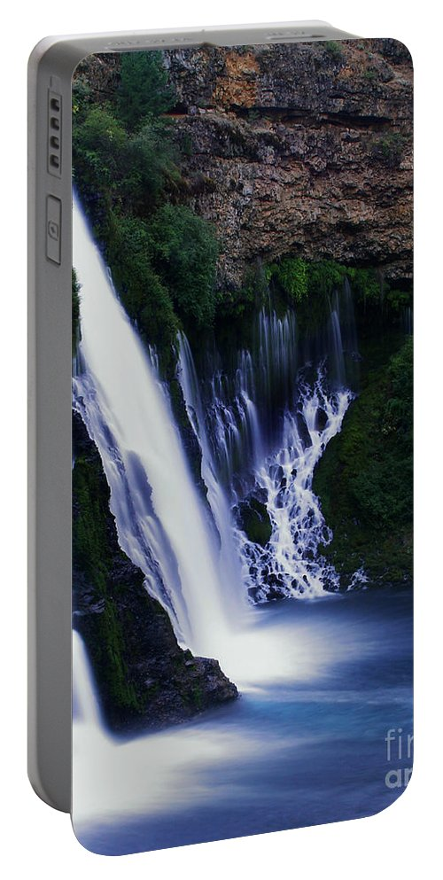 River Portable Battery Charger featuring the photograph Burney Blues by Peter Piatt