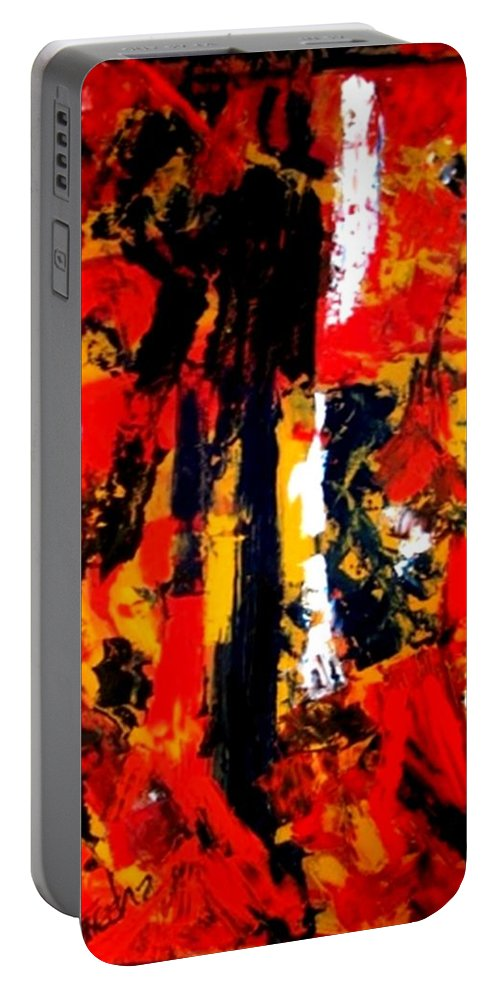 Oil Painting Portable Battery Charger featuring the painting Burning Bright by Fareeha Khawaja
