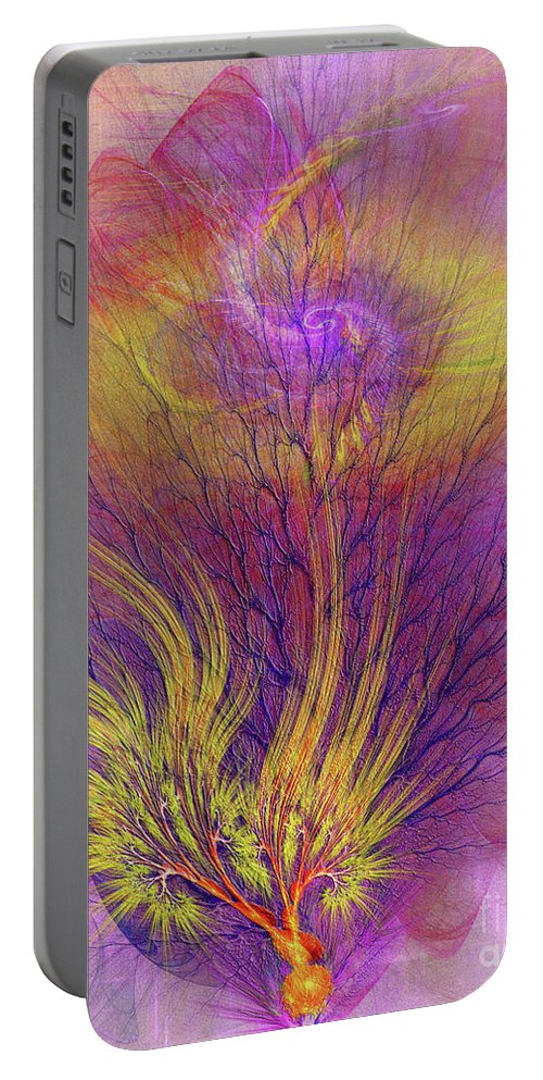 Burning Bush Portable Battery Charger featuring the digital art Burning Bush by John Beck