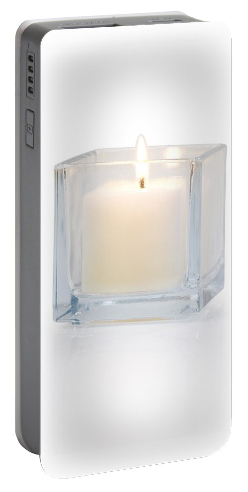 Candle Portable Battery Charger featuring the photograph Burning Candle Side View 20 Degree by Atiketta Sangasaeng