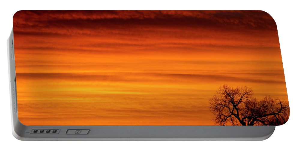 Country Prints Portable Battery Charger featuring the photograph Burning Country Sky by James BO Insogna