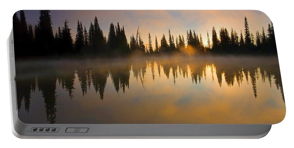 Lake Portable Battery Charger featuring the photograph Burning Dawn by Mike Dawson