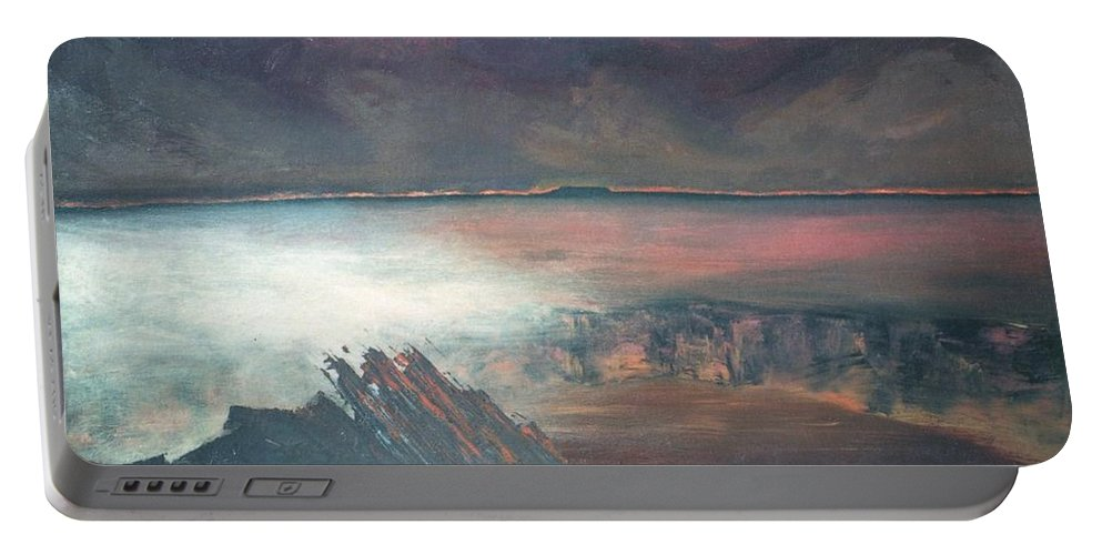Lanscape Mountain Fire Desire Portable Battery Charger featuring the painting Burning Soul by Peta Mccabe
