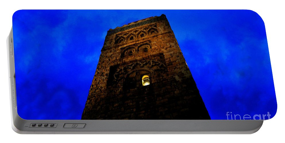 Castle Portable Battery Charger featuring the painting Burning The Midnight Oil by David Lee Thompson