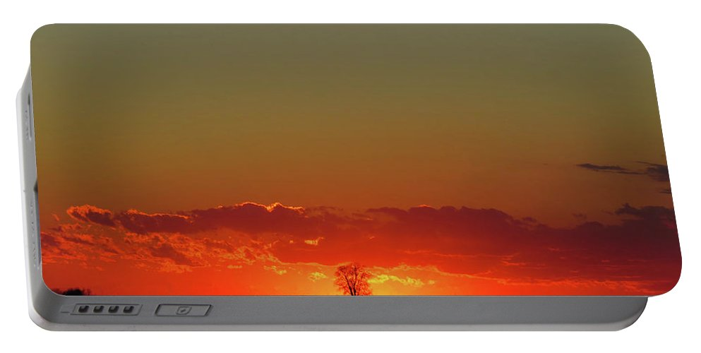 Sunset Portable Battery Charger featuring the photograph Burning Tree Sunset by Phil Cooling
