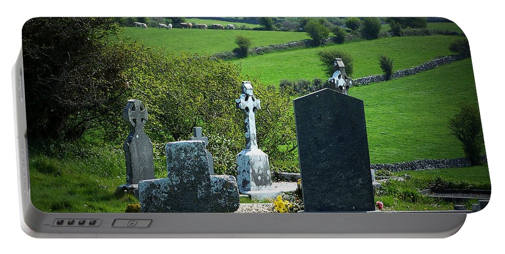 Irish Portable Battery Charger featuring the photograph Burren Crosses County Clare Ireland by Teresa Mucha
