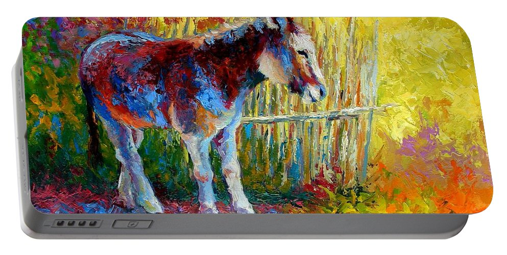 Western Portable Battery Charger featuring the painting Burro And Bouganvillia by Marion Rose