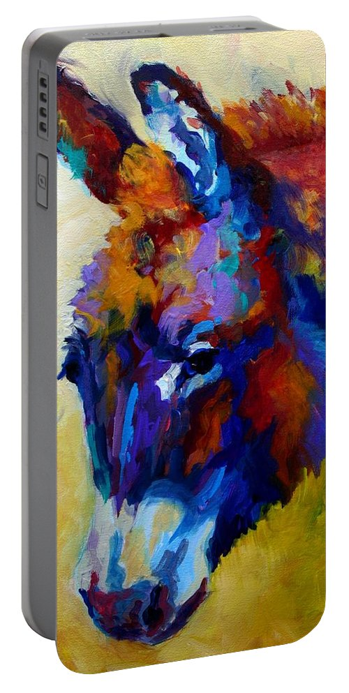 Western Portable Battery Charger featuring the painting Burro II by Marion Rose