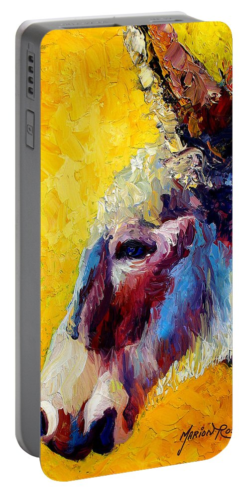Western Portable Battery Charger featuring the painting Burro Study II by Marion Rose