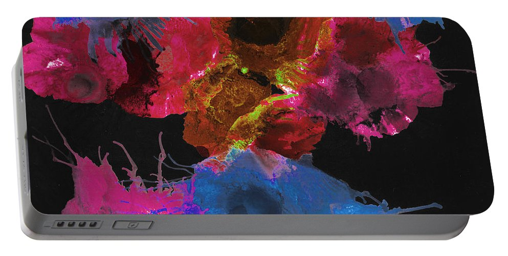 Acrylic Portable Battery Charger featuring the mixed media Bursting Comets 2017 - Blue And Pink On Black by Roses Fine Art Studio
