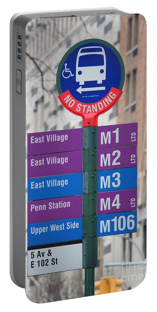 Bus Stop Sign Portable Battery Charger featuring the photograph Bus Stop Sign In New York City by Nishanth Gopinathan
