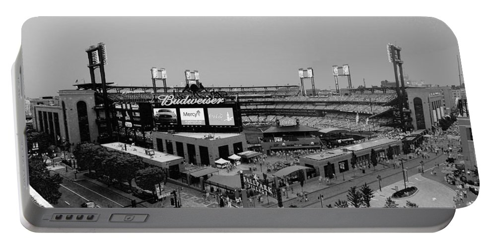 Busch Portable Battery Charger featuring the photograph Busch Stadium From The East Garage Black And White by C H Apperson