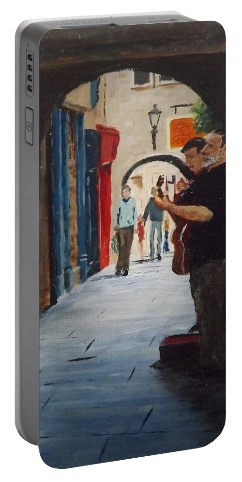 Buskers Portable Battery Charger featuring the painting Buskers, Kilkenny by Tony Gunning
