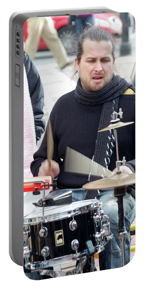 Man Portable Battery Charger featuring the photograph Busking Drummer by John Hughes