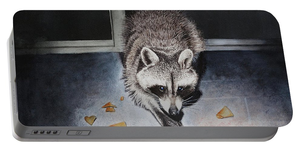 Raccoon Portable Battery Charger featuring the painting Busted by Robbie Fitzpatrick