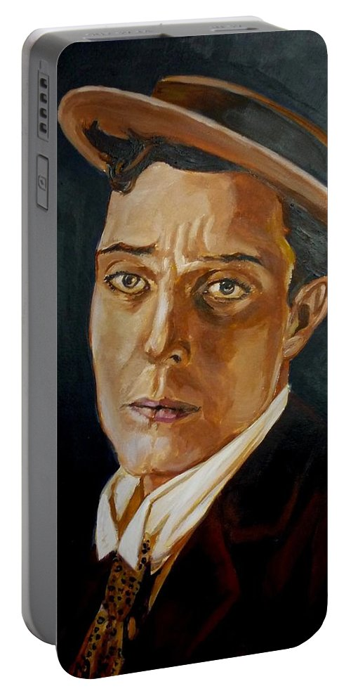 Comedy Portable Battery Charger featuring the painting Buster Keaton Tribute by Bryan Bustard