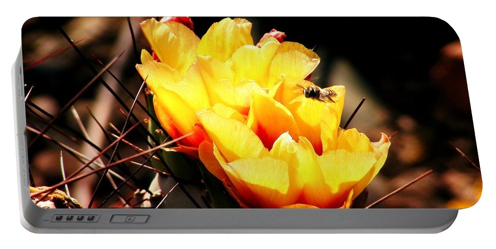 Yellow Cactus Portable Battery Charger featuring the photograph Busy Bee by Marilyn Smith