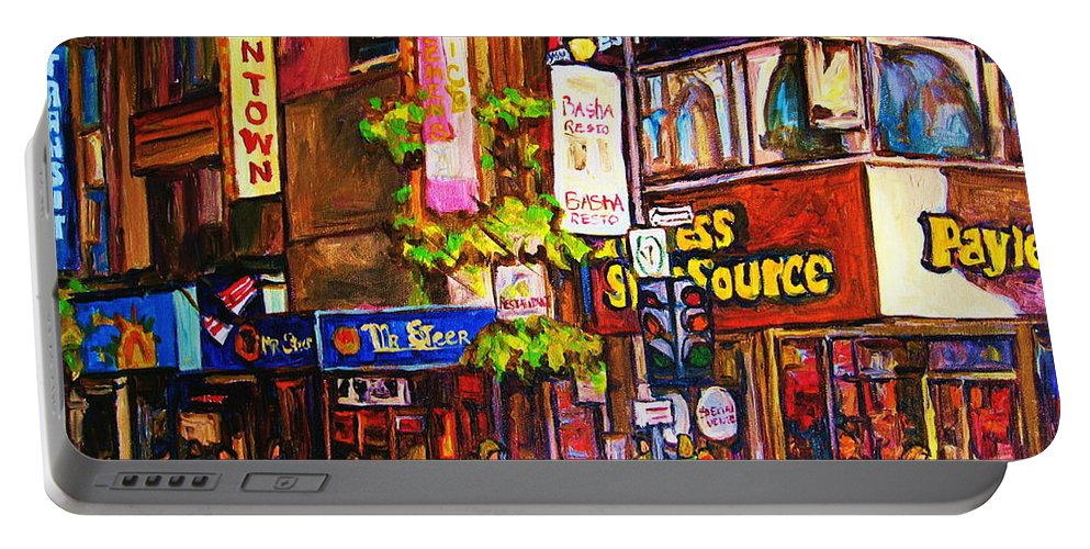 Cityscape Portable Battery Charger featuring the painting Busy Downtown Street by Carole Spandau