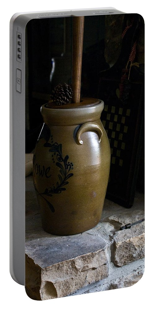 Butter Portable Battery Charger featuring the photograph Butter Churn on Hearth Still Life by Douglas Barnett