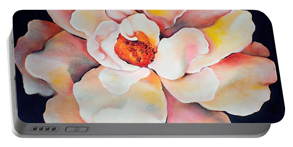 Large Floral Portable Battery Charger featuring the painting Butter Flower by Jordana Sands