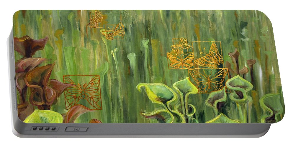 Acrylic Portable Battery Charger featuring the painting Butterflies In The Bog by Suzanne McKee