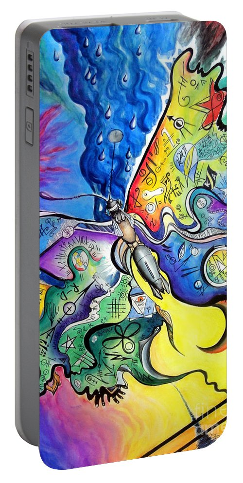 Butterfly Portable Battery Charger featuring the painting Butterfly 01. Science And Its Progress by Sofia Metal Queen