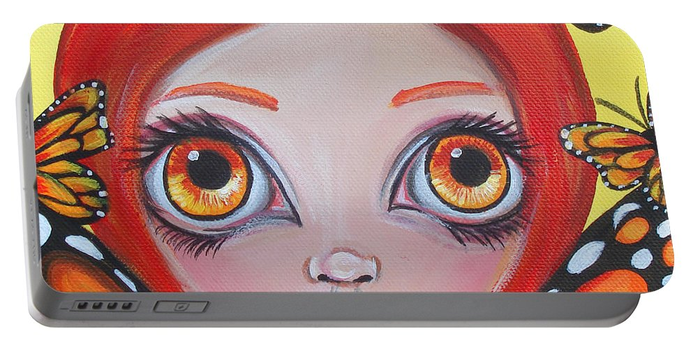Butterflies Portable Battery Charger featuring the painting Butterfly Fairy by Jaz Higgins