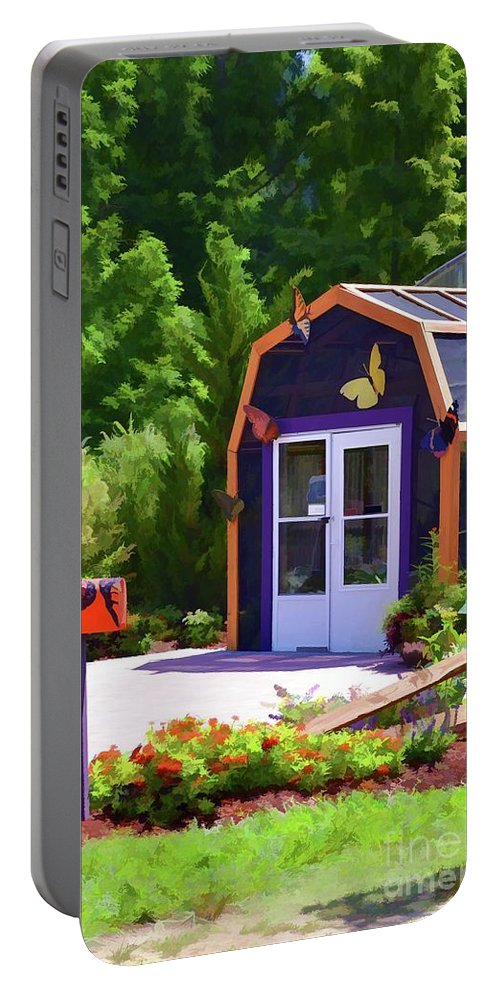 Architecture Portable Battery Charger featuring the painting Butterfly House 2 by Jeelan Clark