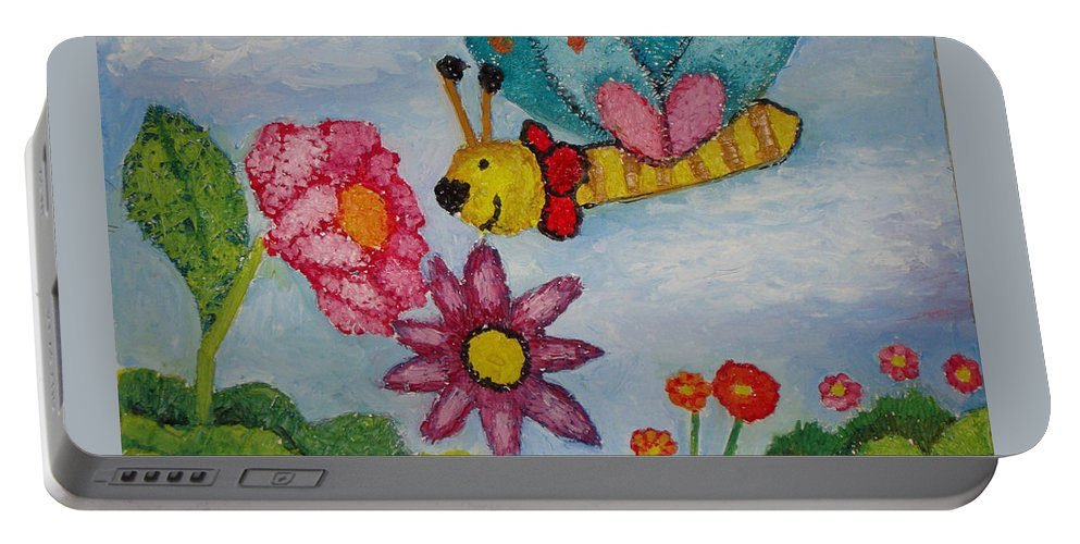 Landscape Portable Battery Charger featuring the painting Butterfly In The Field by Ioulia Sotiriou