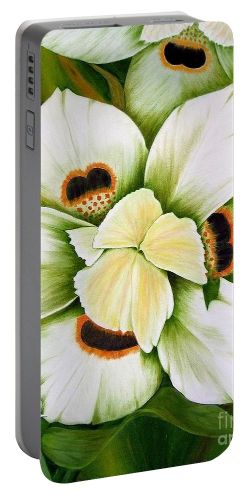 Iris Portable Battery Charger featuring the painting African Butterfly Iris by Mary Deal