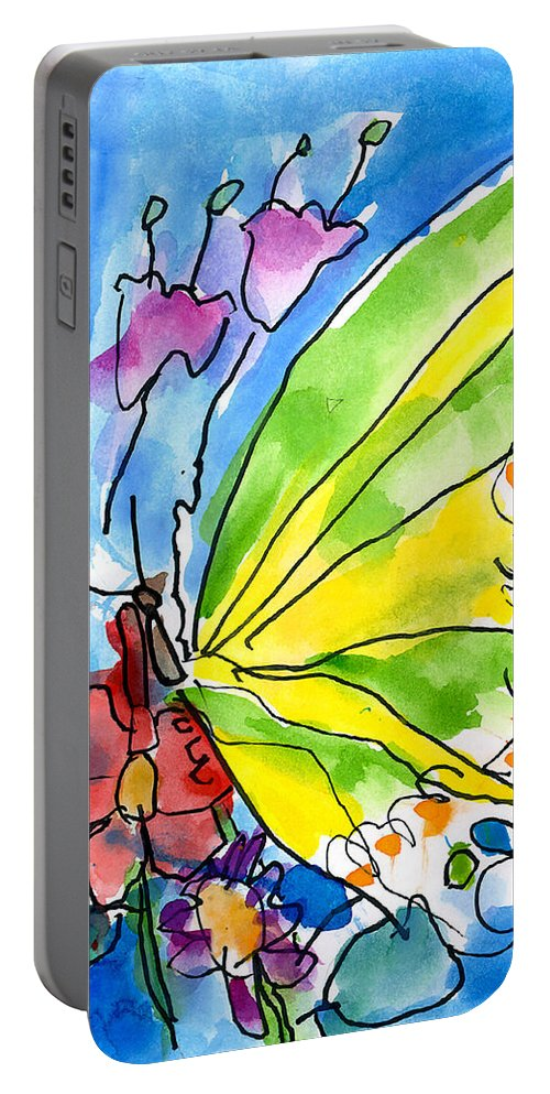 Butterfly Portable Battery Charger featuring the painting Butterfly by Jeffrey Shutt Age Six
