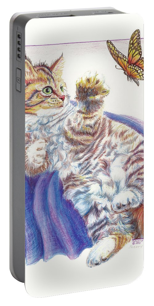 Cat Portable Battery Charger featuring the drawing Butterfly Kitten by Sherry Shipley