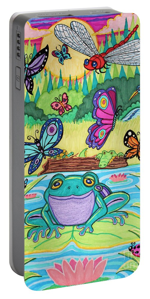 Butterfly Portable Battery Charger featuring the drawing Butterfly Lake by Nick Gustafson