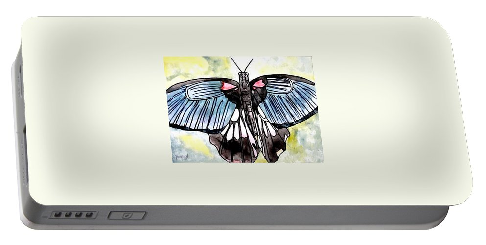Watercolor Portable Battery Charger featuring the painting Butterfly Macro by Derek Mccrea