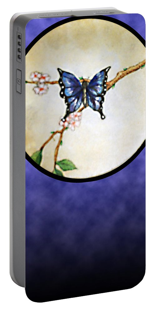 Butterfly Portable Battery Charger featuring the painting Butterfly Moon by Janice T Keller-Kimball