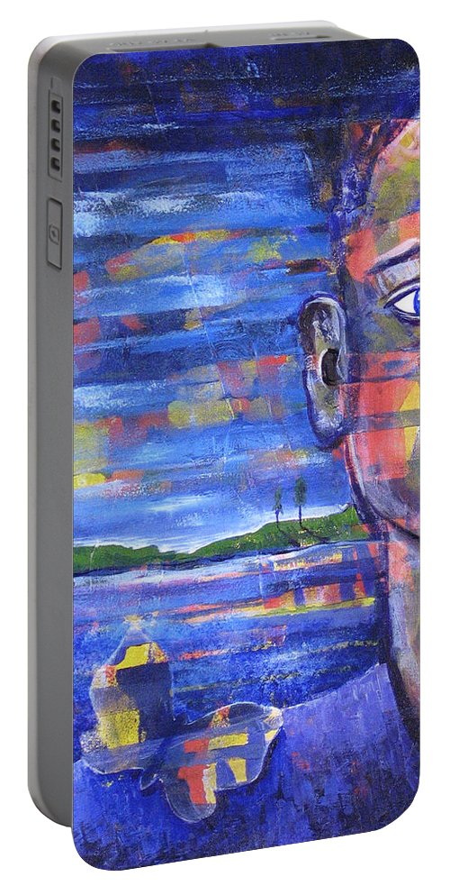 Face Portable Battery Charger featuring the painting Butterfly On My Shoulder by Rollin Kocsis