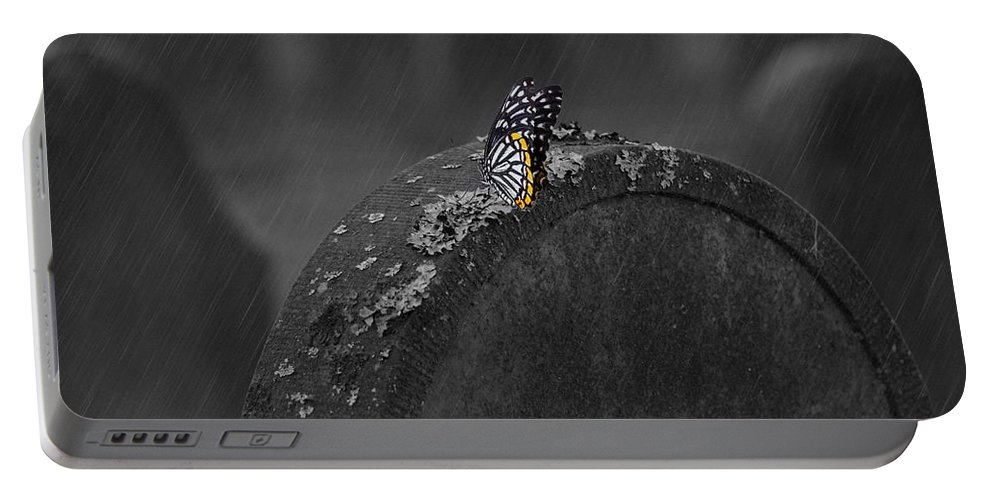 Tombstone Portable Battery Charger featuring the photograph Butterfly On Tombstone by FL collection