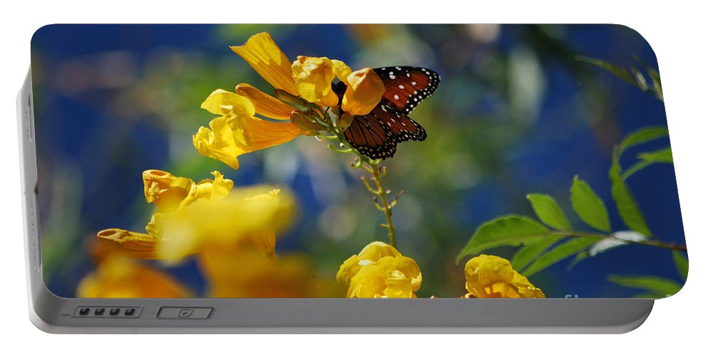Butterfly Portable Battery Charger featuring the photograph Butterfly Pollinating Flowers by Donna Greene